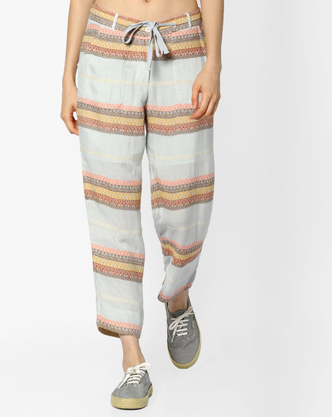 Cotton Ankle-Length Trousers By CODE By Lifestyle ( Offwhite )