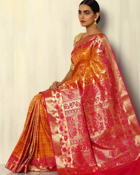 Patola-Style Brocade South Silk Saree By Pretty Woman ( Mustard )