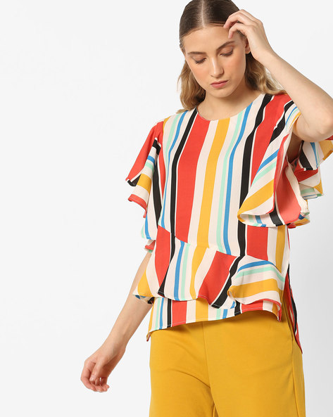 Tiered Stripe Top With Ruffle Sleeves By AJIO ( Offwhite )