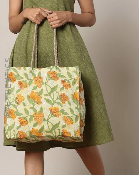 Sanganeri Handblock Print Cotton Jute Handbag By Awdhesh Kumar ( Orange ) - 460120551001