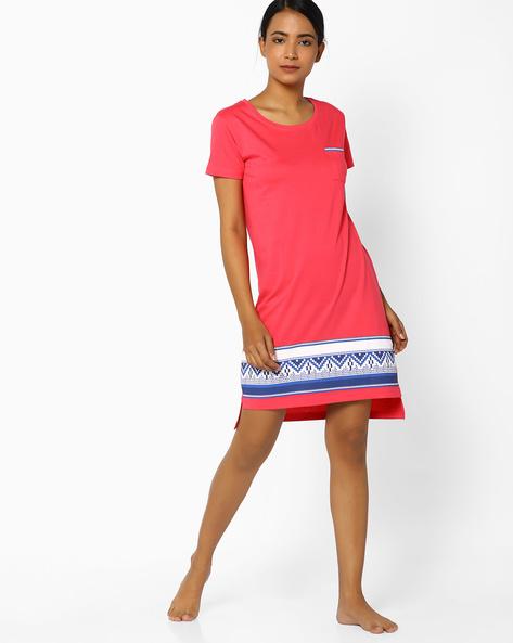 Nightdress With High-Low Hem By Slumber Jill ( Pink )