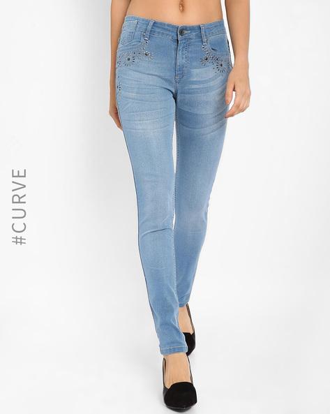 Embellished Slim Fit Jeans By AJIO ( Lightblue )