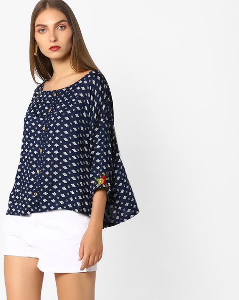 Printed Top With Button Placket By AJIO ( Navy )