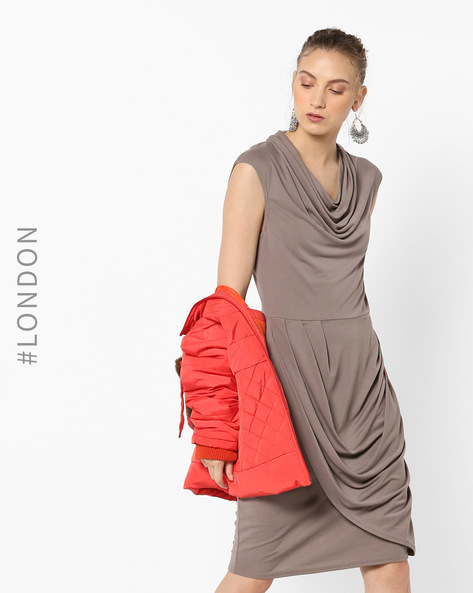 Cowl-Neck Sheath Dress By Closet London ( Taupe )