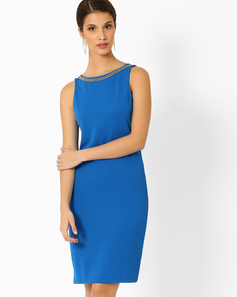 Sheath Dress With Embellished Neckline By AJIO ( Blue )