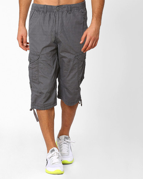Regular Fit Printed 3/4th Pants With Flap Pockets By TEAM SPIRIT ( Charcoal )
