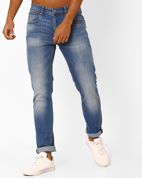 Slim Tapered Lightly Washed Jeans By US POLO ( Lightblue )