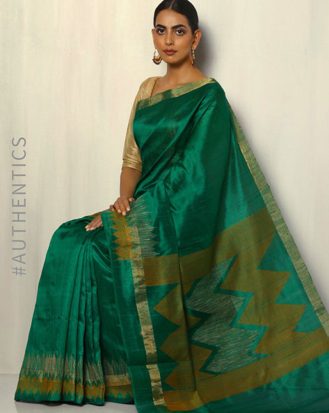 Handloom Pure Silk Dupion Saree With Temple Border By Pretty Woman ( Green ) - 460092022001
