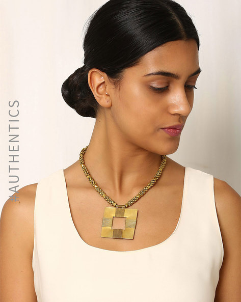 Handcrafted Dhokra Brass Necklace By Indie Picks ( Gold ) - 460016912001