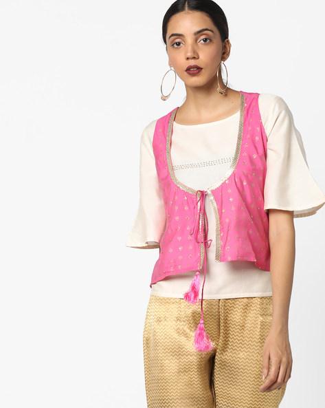 AJIO Printed Chanderi Jacket with Sequins