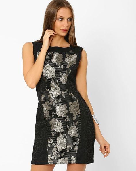 Panelled Jacquard Sheath Dress By AJIO ( Black )