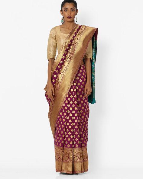 Printed Saree With Contrast Pallu By CHHABRA 555 ( Purple )
