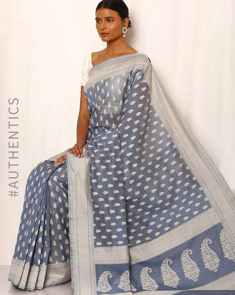 Banarasi Pure Silk Katan Cotton Cutwork Saree By Indie Picks ( Navy )