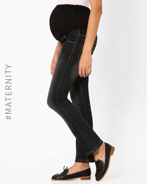 Lightly Washed Maternity Jeans By Preggear ( Black )