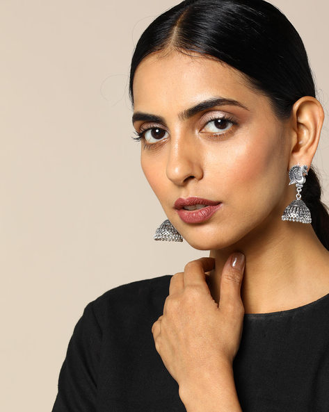Oxidised Silver Peacock Brass Jhumka By Studio B40 ( Silver )