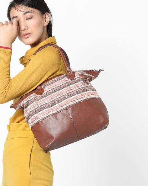 Colourblock Tote Bag With Rolled Handles By Project Eve ( Multi )