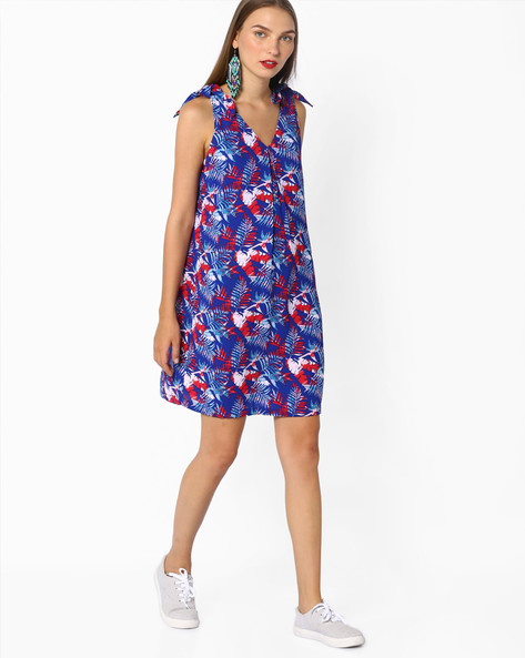 Printed Shift Dress With Tie-Ups By AJIO ( Navyblue )