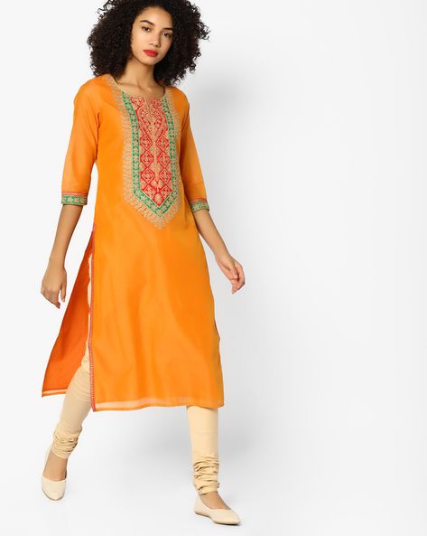 Chanderi Straight Kurta With Embroidered Yoke By Melange By Lifestyle ( Orange )