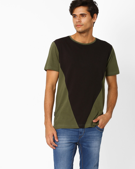 Colourblock Crew-Neck Slim T-shirt By Blue Saint ( Multicolour )