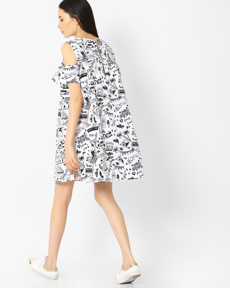 Doodle Print Dress With Cold-Shoulder Sleeves By AJIO ( White )