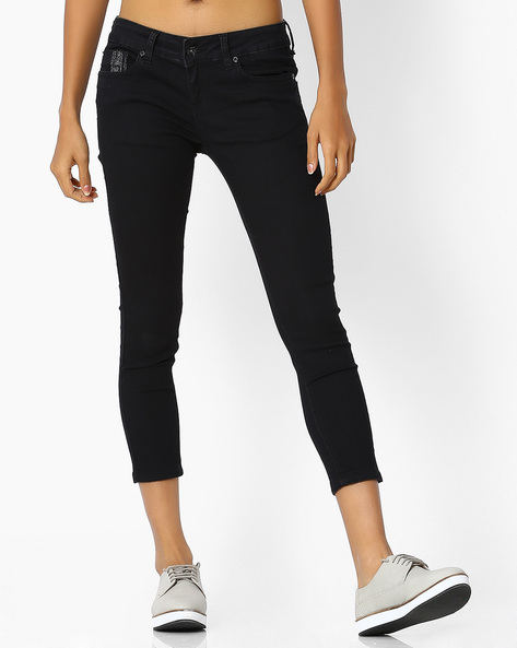 Mid-Rise Skinny Jeans By Pepe Jeans ( Black )