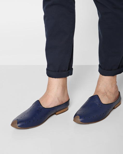 Nagra Casual Slip-Ons With Perforation By AJIO ( Navy )