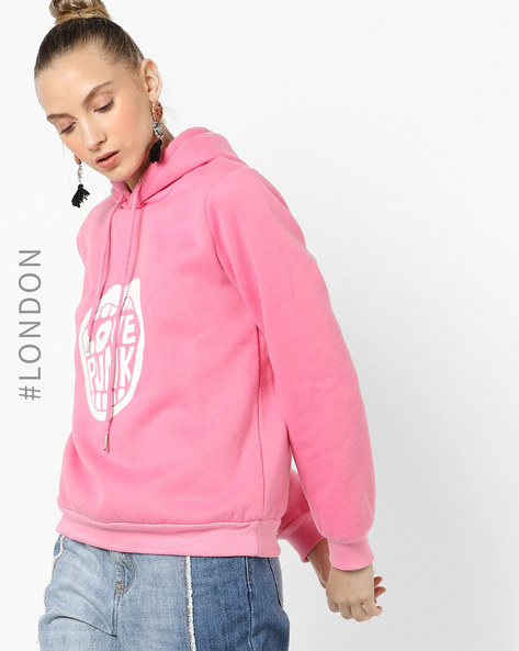 Graphic Print Sweatshirt With Drawstring Hood By Glamorous ( Pink )