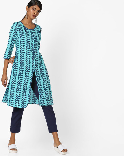 Leaf Print Tunic With Front Slit By AJIO ( Aqua )