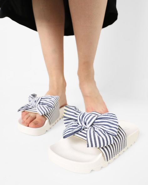 Slip-On Flatforms With Striped Bow By Truffle Collection ( White )