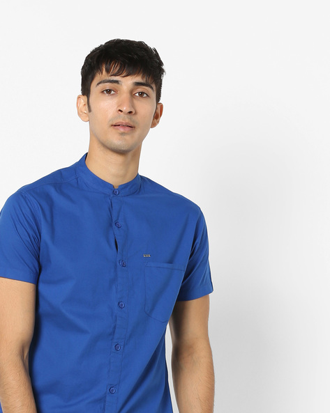 Slim Fit Shirt With Band Collar By SPYKAR ( Blue )