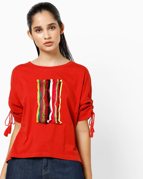 Crew-Neck T-shirt With Ruched Tie-Up Sleeves By AJIO ( Red )