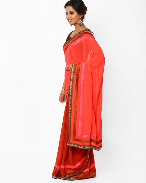Half & Half Georgette Saree With Zari Border By AJIO ( Coral )