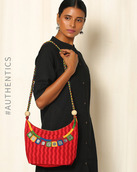 Lambani Embroidered Cotton Sling Bag By Indie Picks ( Red )
