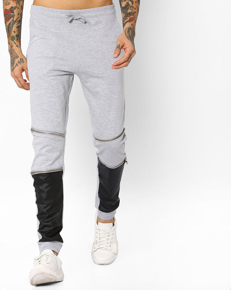 Joggers With PU Leather Panels By Garcon ( Greymelange )