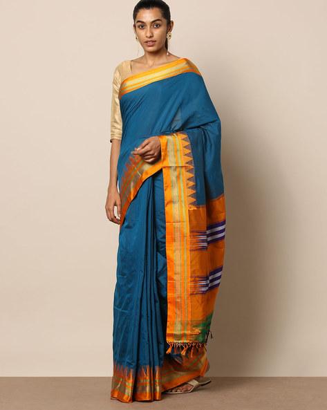 Mercerised Cotton Temple Zari Border Saree By Indie Picks ( Blue )