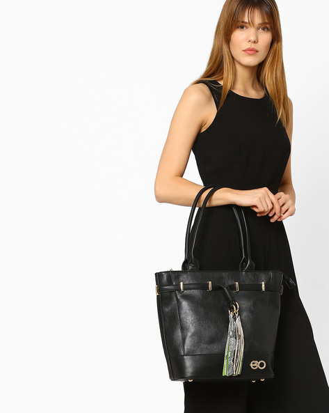 Faux-Leather Tote Bag With Embellished Tassels By E2O ( Black )