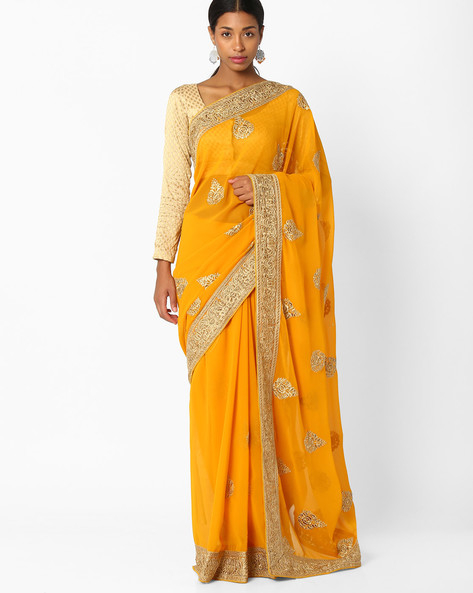 Embroidered Saree With Sequin Accents By Amori ( Yellow )