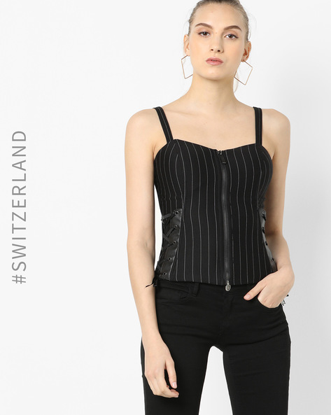 Striped Top With Lace-Up Detail By TALLY WEiJL ( Black )