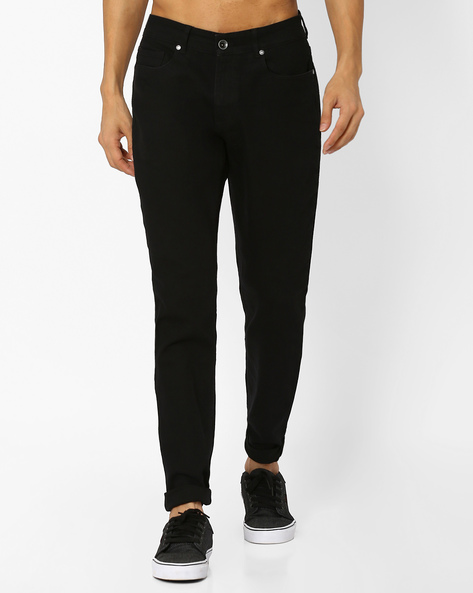 Mid-Rise Slim Straight Fit Jeans By AJIO ( Black )
