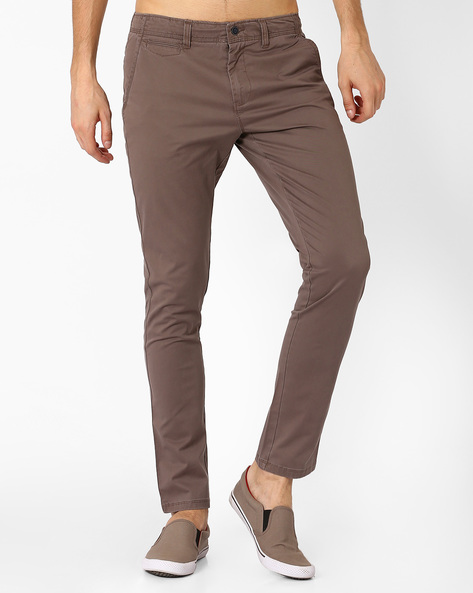 Mid-Rise Slim Tapered Fit Chinos By AJIO ( Grey )