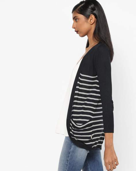 Striped Cardigan With Pockets By Lee ( Blue )
