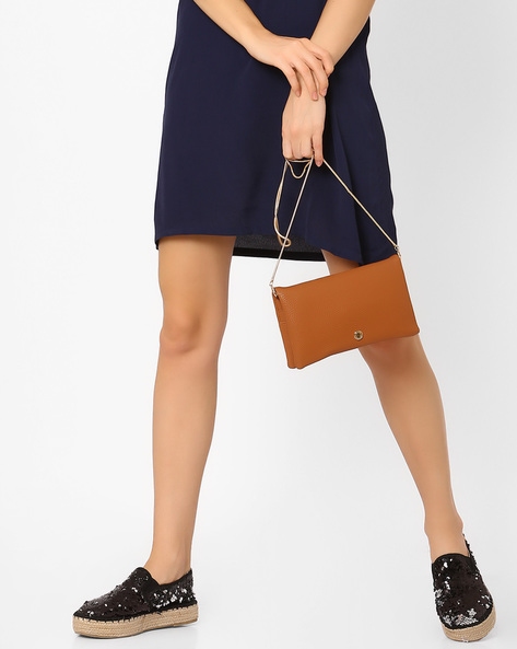 Textured Foldover Clutch By Lino Perros ( Tan )