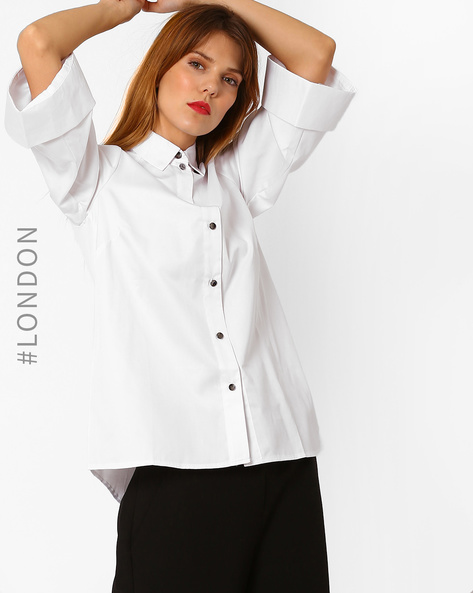 Shirt With Flared Sleeves By Closet London ( White )