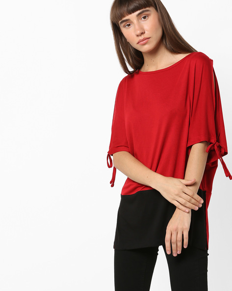 Cold-Shoulder Top With Tie-Up Sleeves By AJIO ( Red )