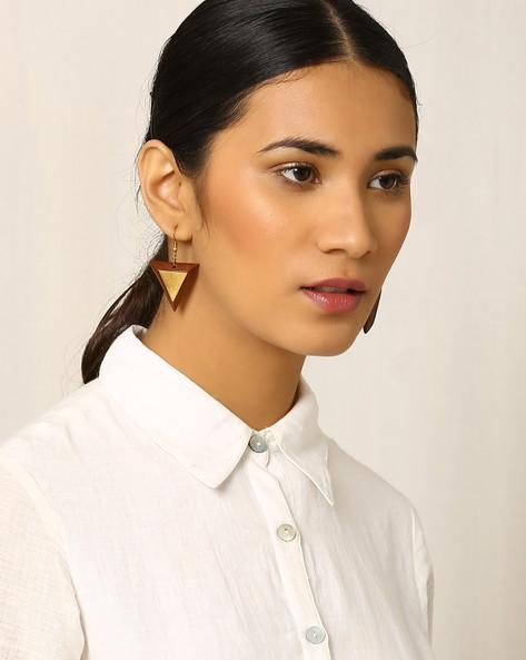 Handcrafted Wooden & Brass Drop-Earrings By Indie Picks ( Brown )