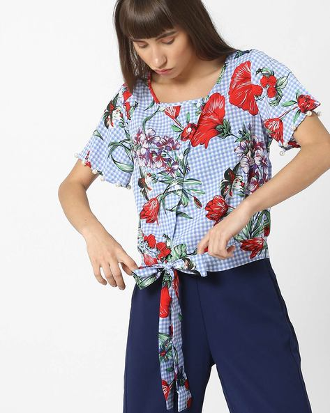 Floral Print Top With Bow Tie-Up By Ginger By Lifestyle ( Lightblue )