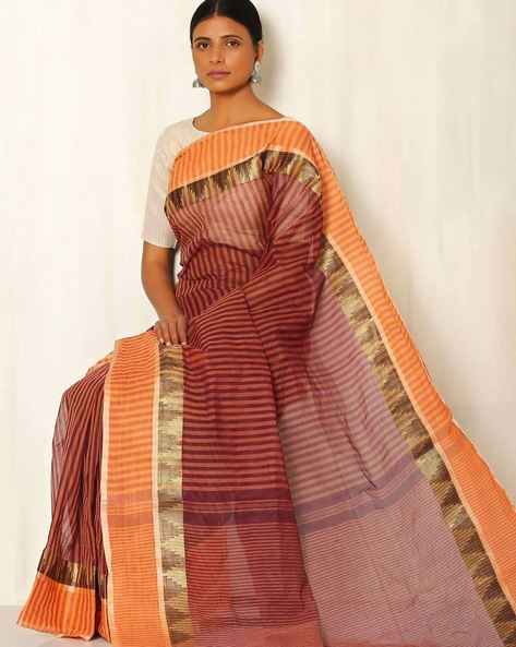Handwoven Bengal Tant Stripe Cotton Saree With Woven Border By Indie Picks ( Brown )