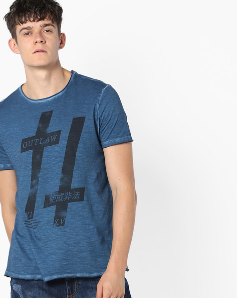Graphic Print T-shirt With Raw Hems By AJIO ( Blue )