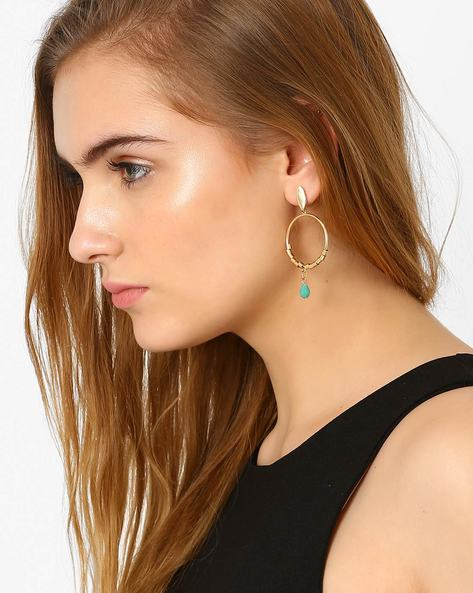 Hoop Earrings With Beaded Dangler By Ayesha ( Gold )