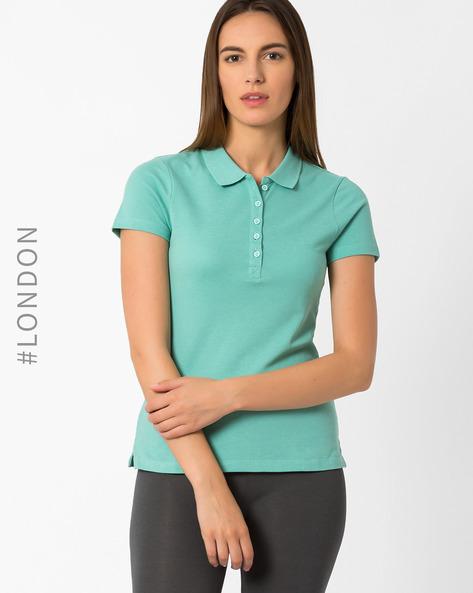Pique Polo T-shirt By Marks & Spencer ( Aqua )